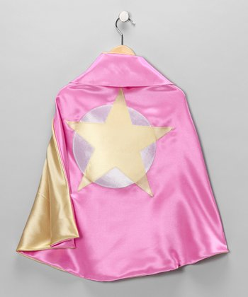 Hot Pink & Yellow Soaring Star Two-Ply Hero Cape