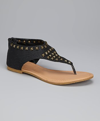 Black Studded Alligator Sandal