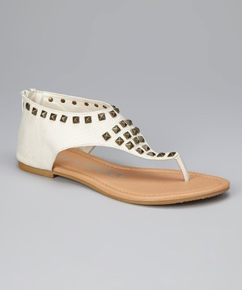 White Ash Studded Alligator Sandal