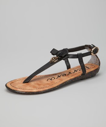 Black Heart Ankle-Strap Sandal