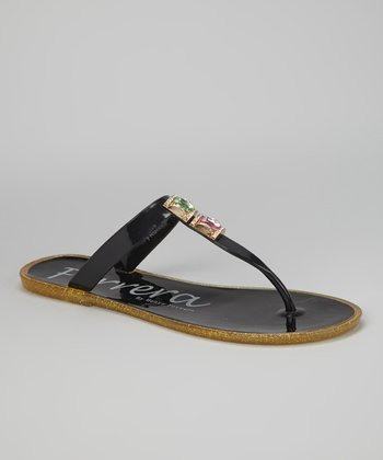 Black Fruity Gemstone Sandal