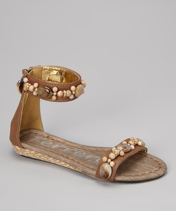 Tan Beaded Gladiator Sandal