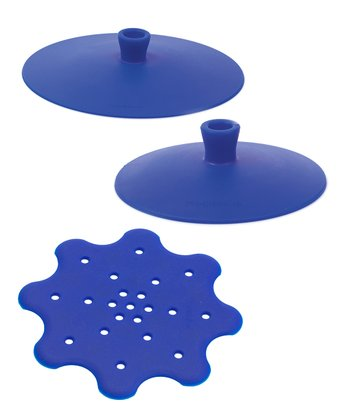 Blue Suction Lid & Strainer Set
