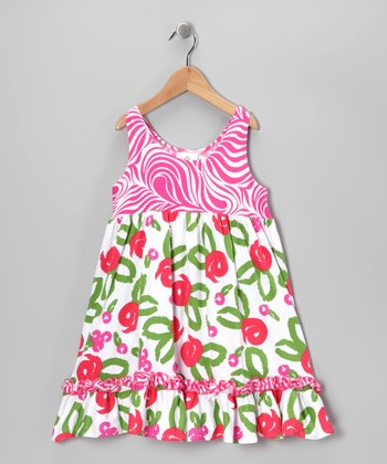 White Brush Rose Ruffle Babydoll Dress - Toddler & Girls