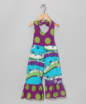 Turquoise, Purple & Green Garden Jumpsuit - Girls
