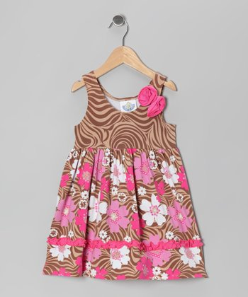 Brown & Pink Zoology Beach Dress - Infant, Toddler & Girls