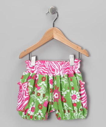 Green Chandelier Bubble Shorts - Infant