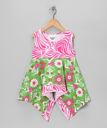 Green Chandelier Handkerchief Tunic - Infant, Toddler & Girls