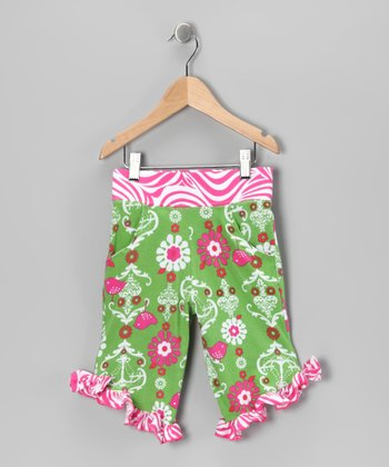 Green Chandelier Ruffle Capri Pants - Girls