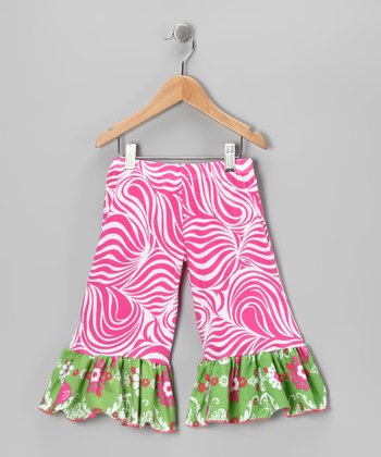 Green Chandelier Ruffle Wide-Leg Ruffle Pants - Toddler & Girls