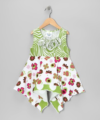 Green & White Summertime Handkerchief Top - Girls