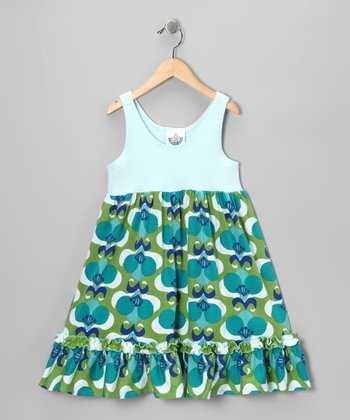 Green Mod Flower Ruffle Babydoll Dress - Toddler & Girls