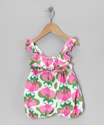 Pink Mod Flower Ruffle Bubble Romper - Infant