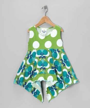 Green Mod Flower Handkerchief Tunic - Infant, Toddler & Girls