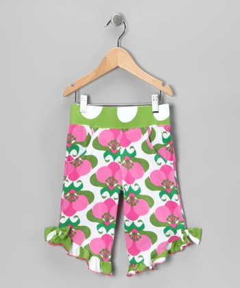 Pink Mod Flower Ruffle Capri Pants - Toddler & Girls