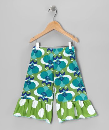 Green Mod Flower Wide-Leg Ruffle Pants - Girls