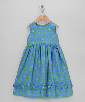 Blue & Green Dino Babydoll Dress - Infant, Toddler & Girls