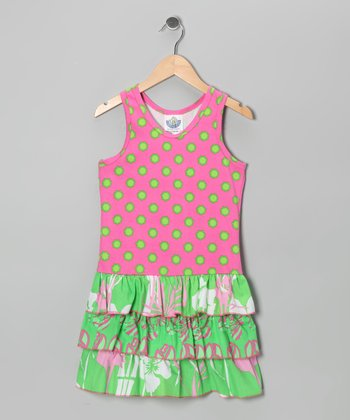 Pink & Kiwi Flamingo Drop-Waist Dress - Infant, Toddler & Girls