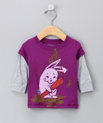 Berry Bunny Organic Layered Tee - Infant, Toddler & Girls