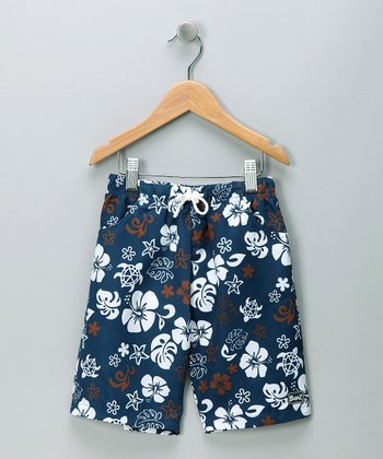 Blue & Brown Boardshorts - Infant