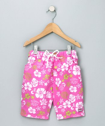 Pink & Green Boardshorts - Infant