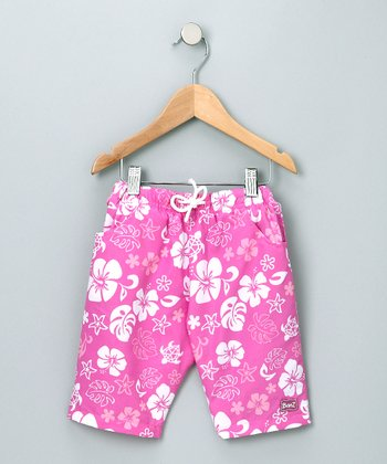 Pink & White Boardshorts - Infant & Girls