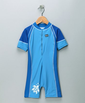 Blue Turtle One-Piece Rashguard - Toddler