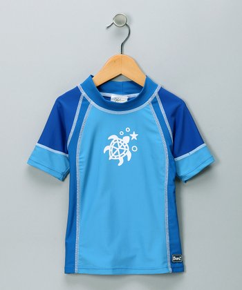 Blue Turtle Short-Sleeve Rashguard - Toddler