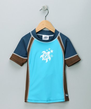 Blue & Brown Short-Sleeve Rashguard - Toddler
