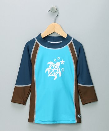 Blue & Brown Long-Sleeve Rashguard - Infant