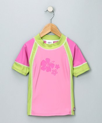 Pink & Green Short-Sleeve Rashguard - Infant & Toddler