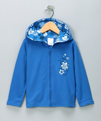 Blue Turtle French Terry Zip-Up Hoodie - Infant & Toddler