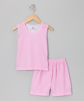 Pink Gingham Pajama Set - Toddler & Girls