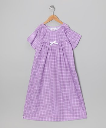 Lilac Gingham Bow Nightgown - Toddler