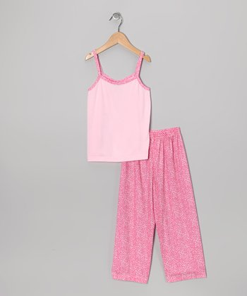 Pink Leopard Pajama Set - Girls