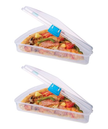 Blue Pizza Slice to Go Container - Set of Two