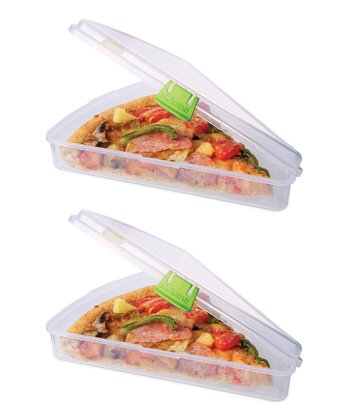 Green Pizza Slice to Go Container - Set of Two