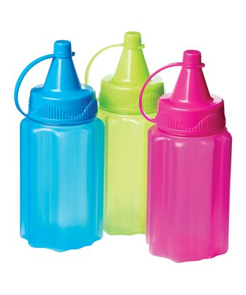 Pink, Green & Blue Condiment Bottle To-Go Set
