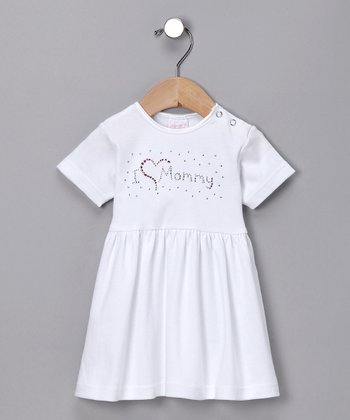 White Mommy Love Rhinestone Dress