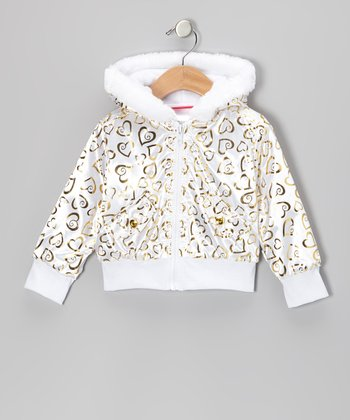 White Heart Hooded Jacket - Infant, Toddler & Girls