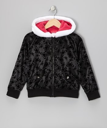 Black & Pink Butterfly Hooded Jacket - Infant, Toddler & Girls