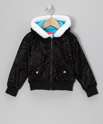 Black Safari Stripe Hooded Jacket - Girls