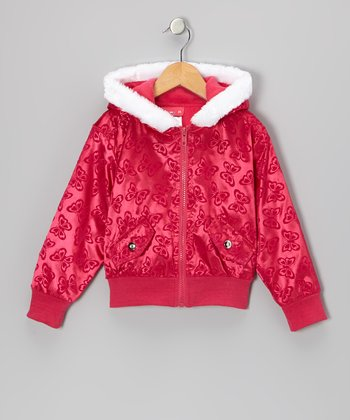 Pink Butterfly Hooded Jacket - Infant, Toddler & Girls