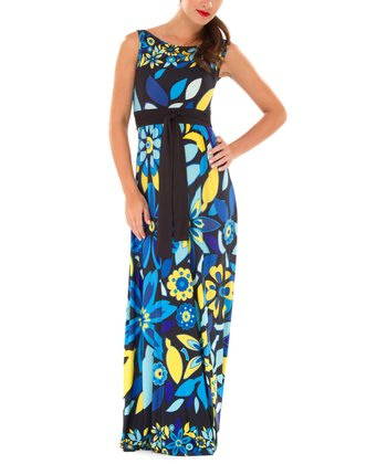 Blue & Yellow Floral Maternity Maxi Dress