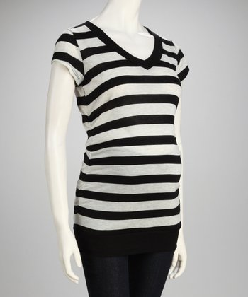 Inspire Black & Light Gray Ruched Maternity Top