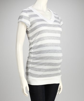 Inspire Snow White & New Gray Maternity Top