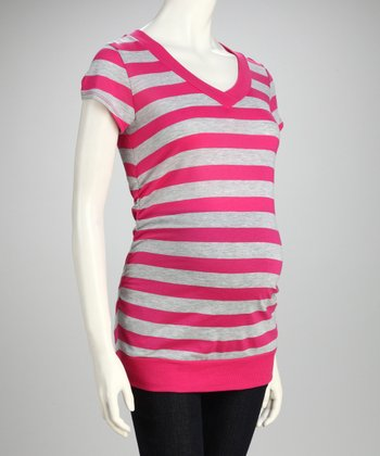Inspire Ultimate Pink & New Gray Maternity Top