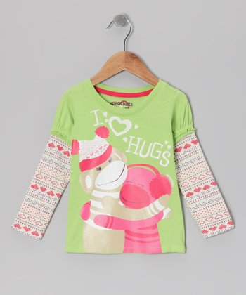Lime Heart Fair Isle Layered Tee - Infant, Toddler & Girls