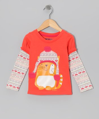 Coral Heart Fair Isle Layered Tee - Infant, Toddler & Girls