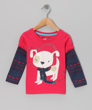 Raspberry Heart Fair Isle Layered Tee - Infant, Toddler & Girls